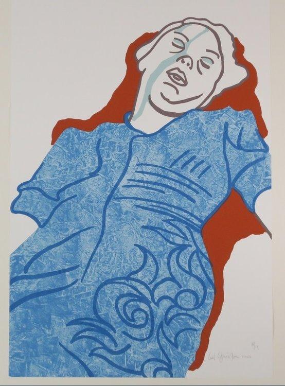 Ad Gerritsen - Slapende vrouw - 80cm x 55cm - Zeefdruk op papier, geplakt op kartonnen achterblad