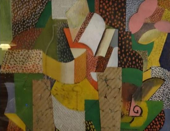 George Tesson - Bibliotheek - 43 x 62 cm - Schilderij & collage - ingelijst