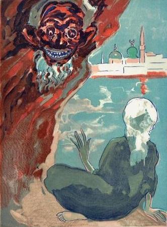 Kees van Dongen - Aladdin et L'efrit noir, uit Le livre des mille et une nuits - passe-partout 24 x 30 cm - Houtgravure
