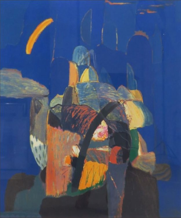 Ahmed Baldin - Nacht - 98,5 x 83,5 cm - zeefdruk op papier - in aluminium lijst