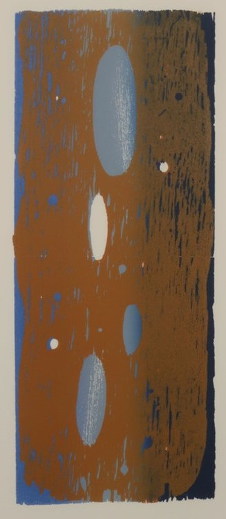 Joris Geurts - zonder titel I - 83 x 43 cm - Houtsnede op papier - in houten lijst