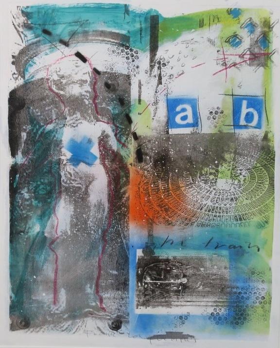 Frank Lengvenius - Zonder titel I - 108,5 x 90,5 cm - Gemengde techniek, acryl en krijt op zeefdruk op papier - in aluminium lijst