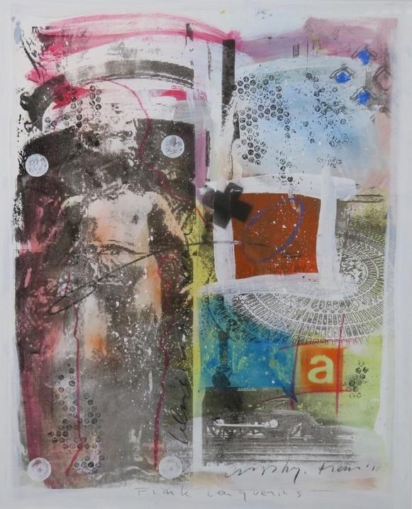 Frank Lengvenius - Zonder titel II - 108,5 x 90,5 cm - Gemengde techniek, acryl en krijt op zeefdruk op papier - in aluminium lijst