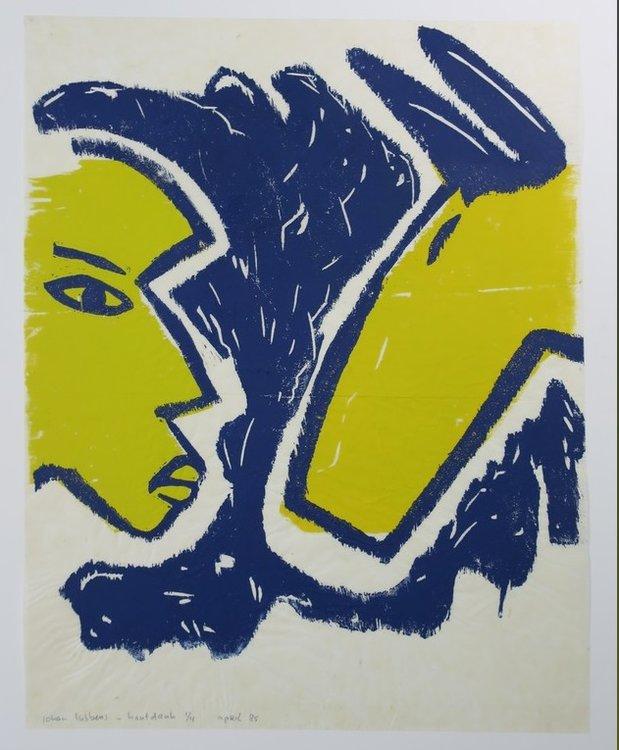 Johan Lubbers - Gezicht en Kop - 73 x 60 cm - Houtdruk op rijstpapier