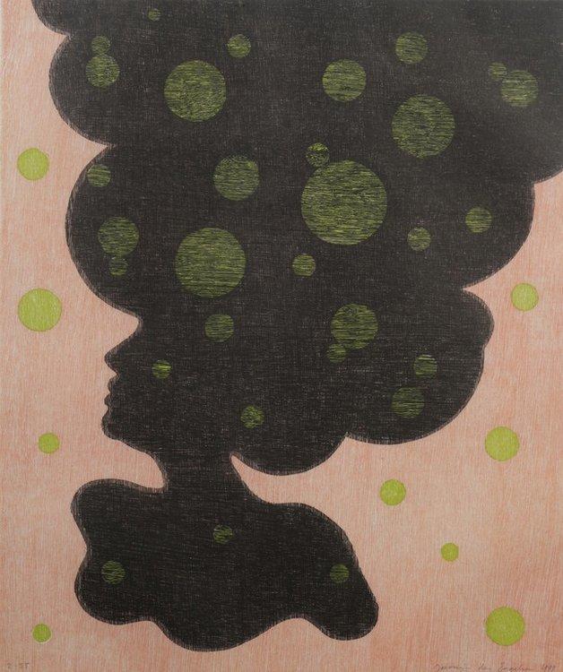 Jacomijn den Engelsen - Afro (Rood) - 81 x 71 cm - Houtsnede op papier - ingelijst
