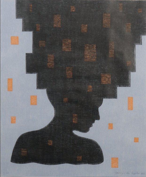Jacomijn den Engelsen - Afro (Blauw) - 81 x 71 cm - Houtsnede op papier - ingelijst