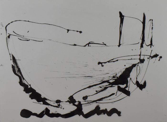 Anton Heyboer - z.t. - 82,5 x 112,5 cm - Gemengde techniek op papier - in zwart aluminium lijst