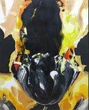 Anita Duif - Zwarte Tulp - 113x93cm - zeefdruk op papier - ingelijst