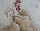 Carla Raadsveld - Kippen - 100 x 100 x 8 - acryl op doek