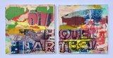 George Heidweiller - zonder titel - 2-luik - 100 x 50 x 5 cm - acrylverf en gemengde techniek op linnen