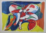 Anton Vrede - Cow birds beach - 100 x 120,5 cm - litho op papier