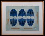 Aafke Kelly - Blues in the Field - 83,5 x 103,5 cm - Olieverf op papier