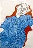 Ad Gerritsen - Slapende vrouw - 93 x 68 cm - Zeefdruk op papier - ingelijst