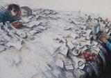 Peter Wever - zonder titel - Ets op papier - 92,5 x 114,5 cm - ingelijst