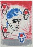 Jan de Bruin - Verlicht persoon - 73 x 53 cm - Litho op papier - in houten lijst