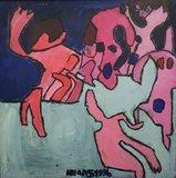 Hans Hartman- zonder titel - 100 x 100 cm - Acrylverf op doek - op spieraam_