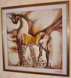Salvador Dali - Paard van Troje - op zijde doek - 88 x 88 cm