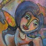 Franca Muller Jabusch - Jongleur - 61 x 51 cm - gouache op papier- ingelijst