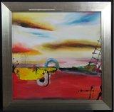 Han Teng - zonder titel III - 97 x 97 cm - Acryl op doek - in houten lijst