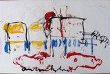 Anton Heyboer - Houses on Wheels - 63 x 96 cm - oostindische inkt en getekend met potlood op rijstpapier