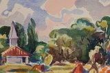 Freek van den Berg - Huis in Frankrijk - 36,5 x 49 cm - Aquarel
