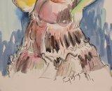 Freek van den Berg - Spaanse dame 2 - 55,5 x 38 cm - Aquarel
