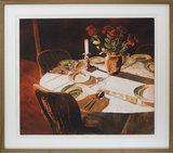 Marcel Schellekens - Gedekte tafel - 70 x 80 cm - Ets op papier - in luxe houten lijst