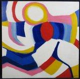 Annemiek Tjepkema - Abstracte compositie III - 90 x 90 cm - Acryl op board