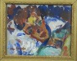 Jan van Holthe - Rustende vrouw - 37,5 x 44 cm - olieverf op papier - in decoratieve gouden lijst