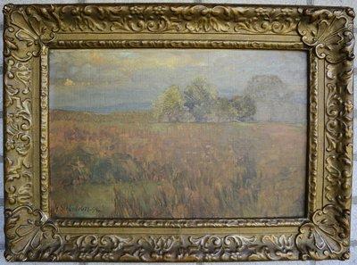 Gustav Schönleber - Landschap - Olie op paneel - 56.5 x 42 cm ingelijst