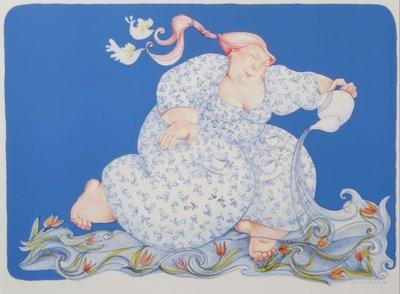 Ada Breedveld - De Watervrouw - 74 x 93,5 cm - Lithografie op papier - aluminium ingelijst