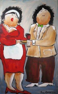 Theo Broeren - Aan de borrel - 160 x 100 cm - acrylverf op doek