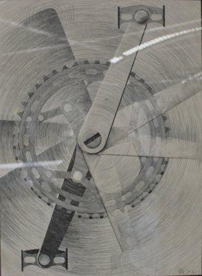 R. van Diepen -  Kettingwiel - 79 x 59 cm - Inkt op papier