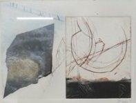 Peter Djelan - zonder titel - 47 x 37 cm - gemengde techniek op papier - ingelijst