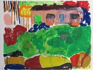 Cees Dolk - Roerend en Onroerend goed 7 -  76 x 95,5 cm - zeefdruk op papier - ingelijst