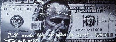 Fabian - Don Corleone $500 Silver - 160 cm x 60 cm - Gemengde techniek op doek