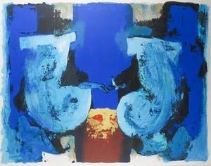 Hans van Horck - Blue Mesa - 114 x 136 cm - Zeefdruk op papier - ingelijst