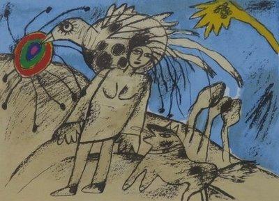 Corneille - zonder titel (vrouw en vogel) - 63 x 68 cm - zeefdruk op papier - ingelijst