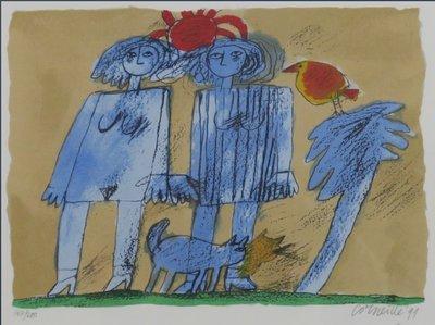 Corneille - zonder titel (twee vrouwen) - 63 x 69 cm - zeefdruk op papier - ingelijst