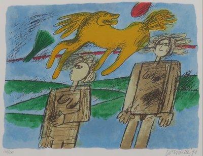 Corneille - zonder titel I - 63 x 68 cm - zeefdruk op papier - ingelijst