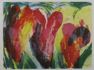 Jan Cremer - Tulips 1991-17 - 71,5 x 91,5 cm - litho op papier - aluminium ingelijst