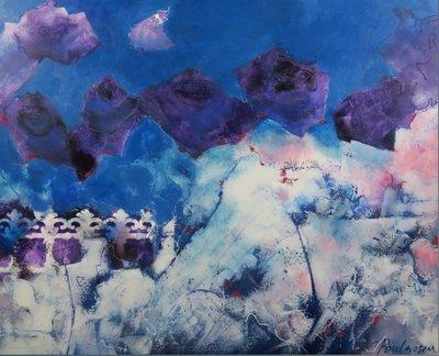 Carolina Paulussen - Blauwe rozen - 130 x 160 - acryl op doek - op spieraam met ophangsysteem