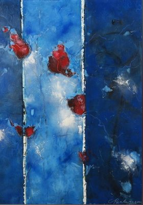 Carolina Paulussen - Blauw met rozen in rood - 140 x 100 - acryl op doek - op spieraam met ophangsysteem