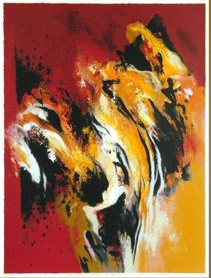 Mattie Schilders - Gele rotsen - ingelijst