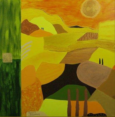 Ronald Boonacker - Italy Landscape - 100cm x 100cm - Acryl op doek - ingelijst