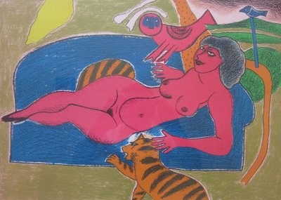 Corneille - zonder titel (vrouw met kat) - ingelijst