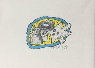 Corneille - Oiseau et chat - 30 x 41,5 cm - litho op papier