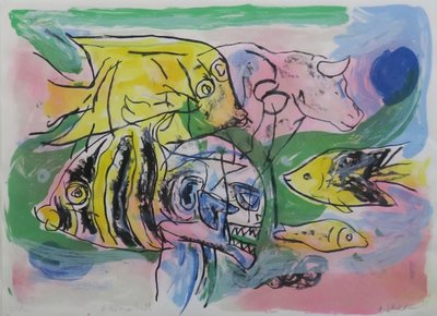 Anton Vrede - Fish man bull - ingelijst