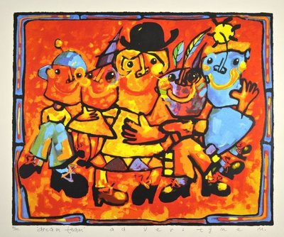 Ad Verstijnen - Dreamteam - 88 x 103 cm - zeefdruk op papier - ingelijst