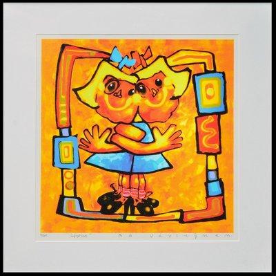 Ad Verstijnen - Twins - 86 x 83 cm - zeefdruk op papier - ingelijst